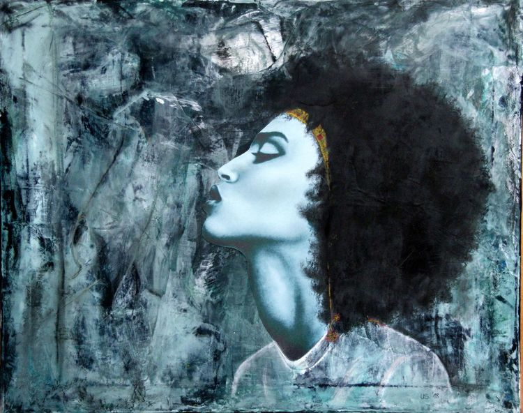 Acrylmalerei, Kreide, Kopf, Profil, Mischtechnik,