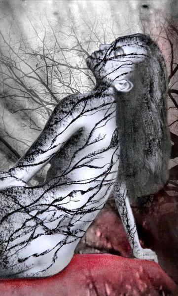 Baum, Zweig, Frau, Mischtechnik