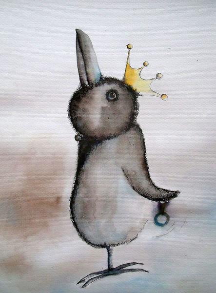 Pinguin, König, Krone, Einbeinig, Aquarellmalerei, Rabe