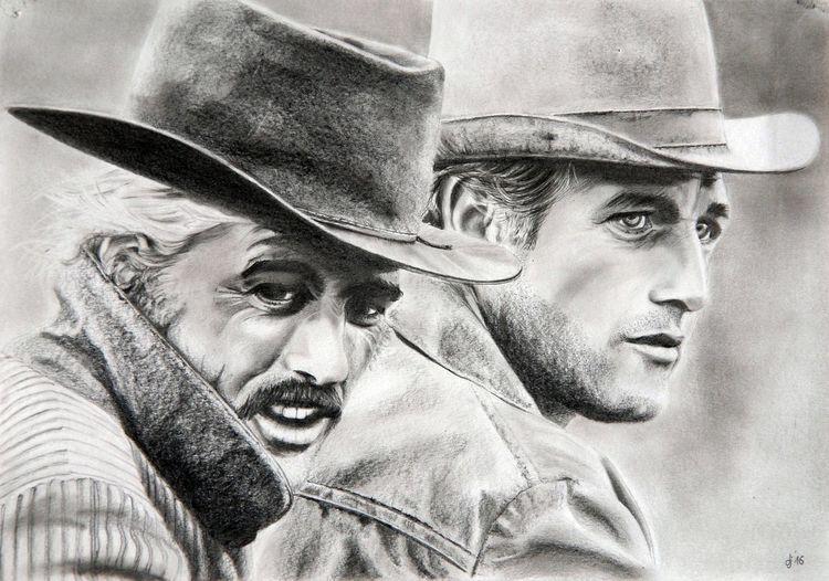 Cowboy, Gesicht, Bleistiftzeichnung, Zeichnungen,