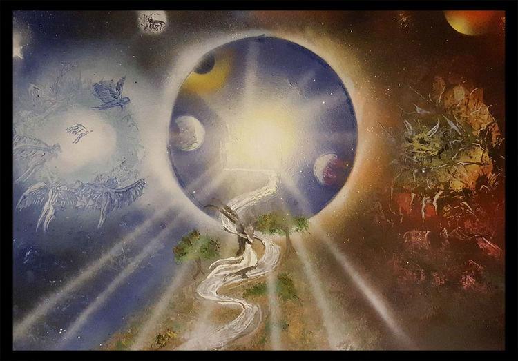 Mond, Fantasie, Liebe, Engel, Dämon, Malerei