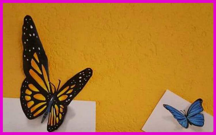 Illusion, Drei dimensional, Schmetterling, Zeichnungen, 3d