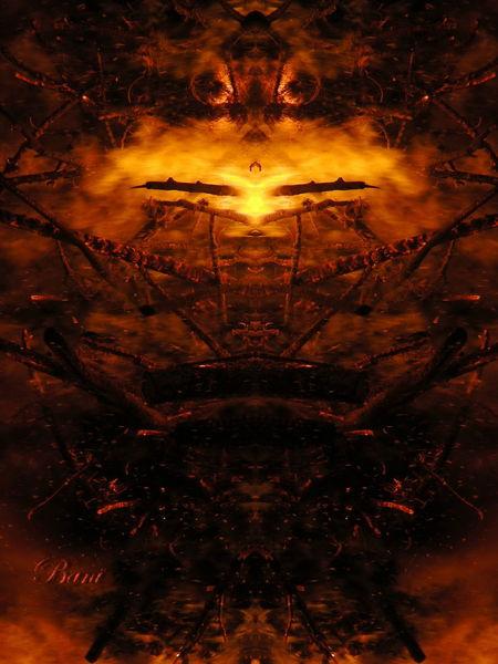 Spiegelung, Flammen, Feuer, Mystik, Lagerfeuer, Glut