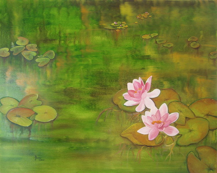 Teich, Rosa, Rose, Wasser, Stille, Blätter
