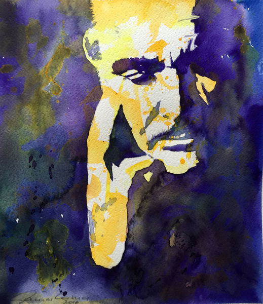 Portrait, Connery, Gesicht, Aquarell,