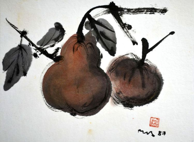 Füchte, Zeichnung, Braun, Sumi, Malerei, Collage