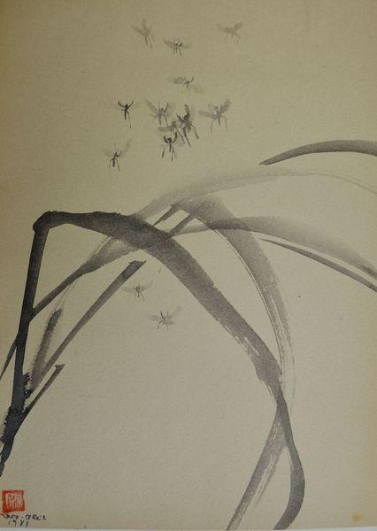 Marianne marx, Zeichnung, Japantusche, Sumi, Japanpapier, Bleil