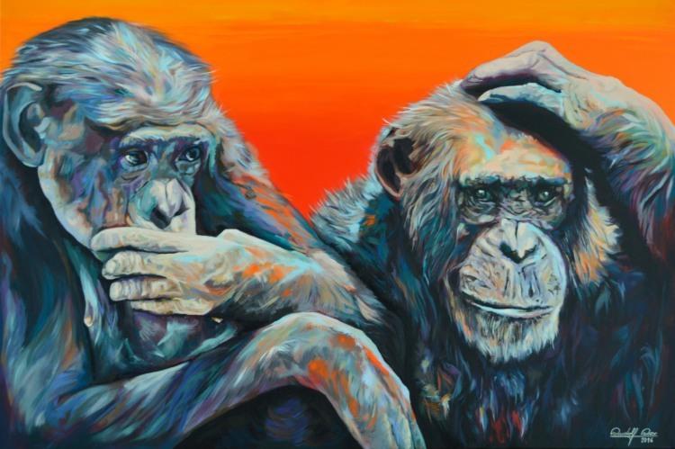 Portrait, Acrylmalerei, Kontrolle, Affe, Malerei, Gemälde