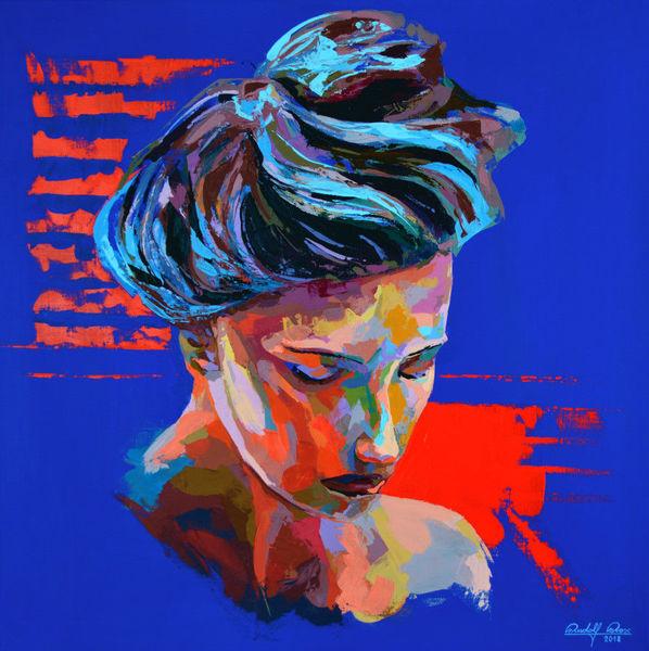 Porträtmalerei, Spachteltechnik, Acrylmalerei, Malerei, Zeitgenössisch, Gemälde