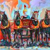 Expressive malerei, Zeitgenössische kunst, Streitwagen, Pop art