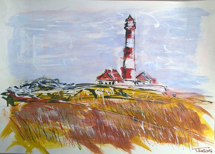 Westerhever, Sommer, Leuchtturm, Malerei