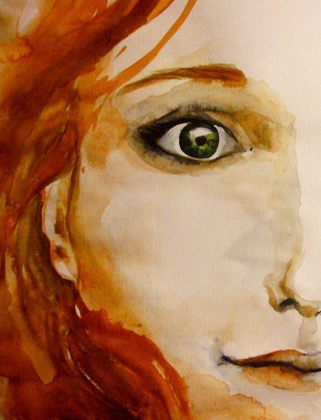 Gesicht, Augen, Frau, Aquarellmalerei, Aquarell