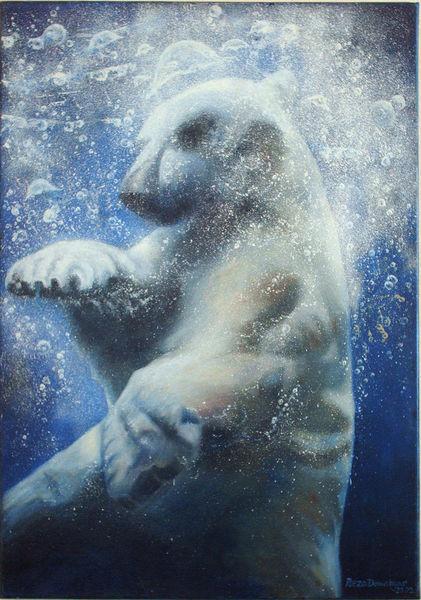 Realismus, Tiere, Landschaft, Eisbär, Malerei, Fotorealistische malerei