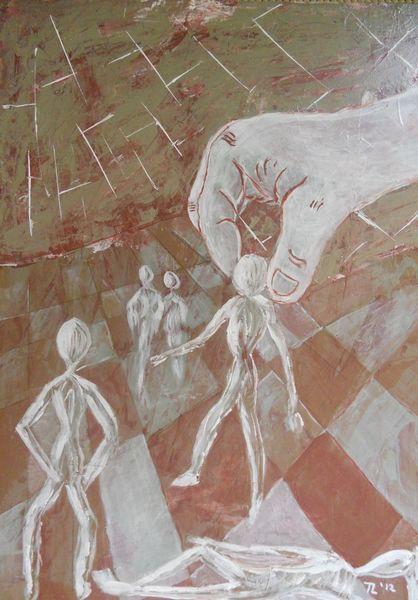 Menschen, Marionette, Hand, Manipulation, Malerei
