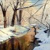 Malerei, Winter, Fluss