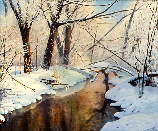 Malerei, Winter, Fluss