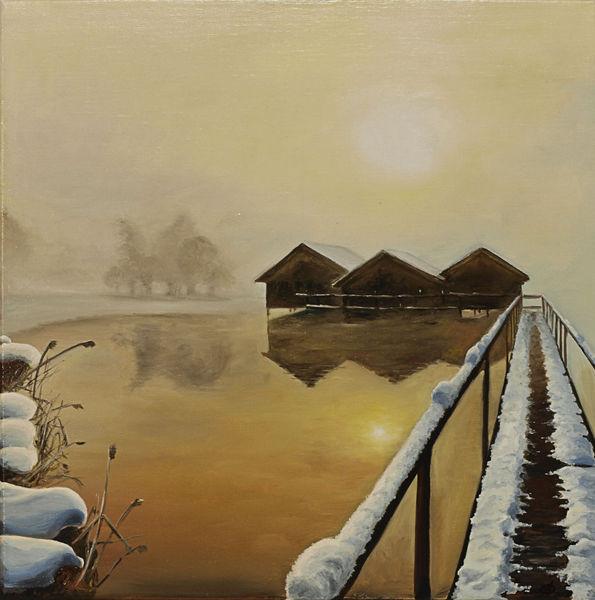 Malerei, Winter, See