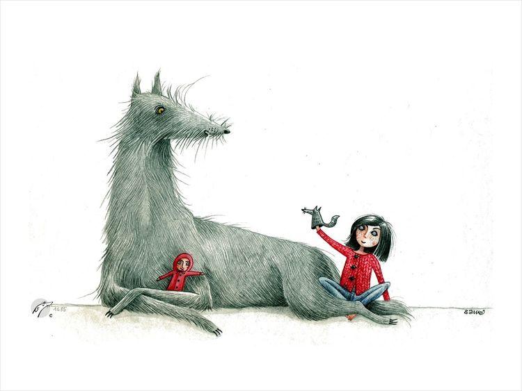 Handpuppen, Wolf, Puppenspiel, Rotkäppchen, Illustrationen