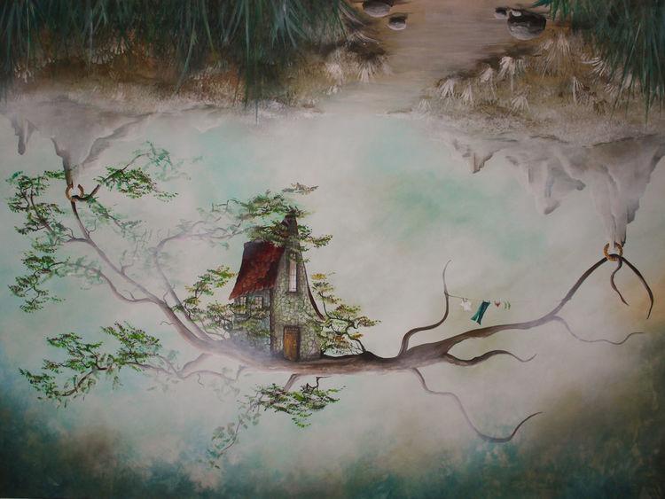 Baum, Überkopf, Haus, Verkehrtherum, Surreal, Wäsche