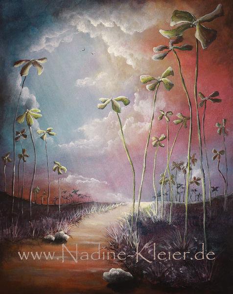 Wolken, Lichtschein, Klee, Schatten, Surreal, Glück