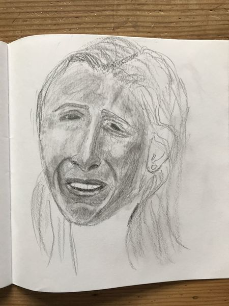 Frau, Bleistiftzeichnung, September 2001, Zeichenpapier, Portrait, Zeichnungen