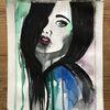 Frau, Aquarellmalerei, Gesicht, Portrait