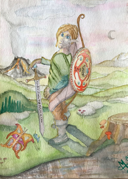 Link, Zelda, Aquarell, Comic, Tribut, Held