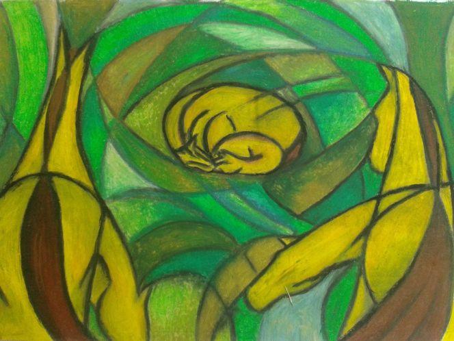 Malerei, Pferde, Mutterliebe