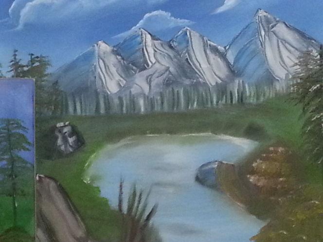 N landschaften, See, Berge, Malerei, Bergsee