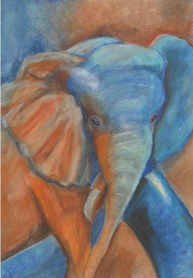 Elefant, Pastellmalerei, Abstrakt, Malerei
