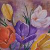 Frühling, Krokus, Blumen, Malerei