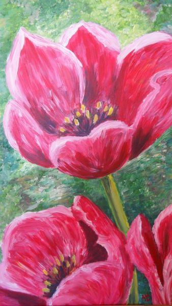 Acrylmalerei, Frühling, Tulpen, Malerei