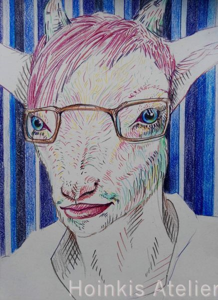 Tiere, Portrait, Blau, Gesicht, Zeichnung, Ziegen