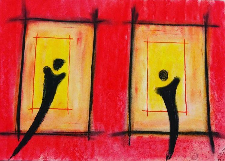 Schwarz, Abstrakt malerei, Gelb, Zeichnen, Farben, Gefühl