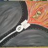 Frau, Acrylmalerei, Ausdrucksmalerei, Reißverschluss