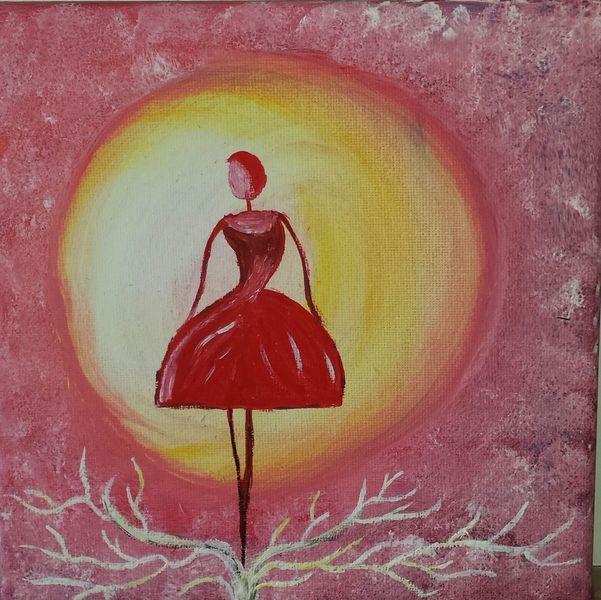 Licht, Acrylmalerei, Frau, Tanz, Kreis, Rosa