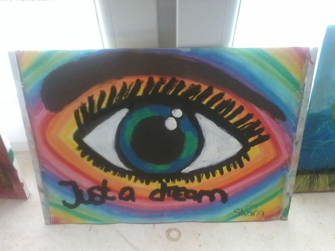 Regenbogenfarben, Schrift, Erde, Wimpern, Augen, Malerei