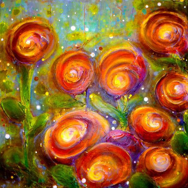 Frühling, Blüte, Acrylmalerei, Blumen, Malerei, Bunt