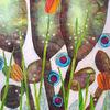 Blüte, Blätter, Sommer, Mischtechnik