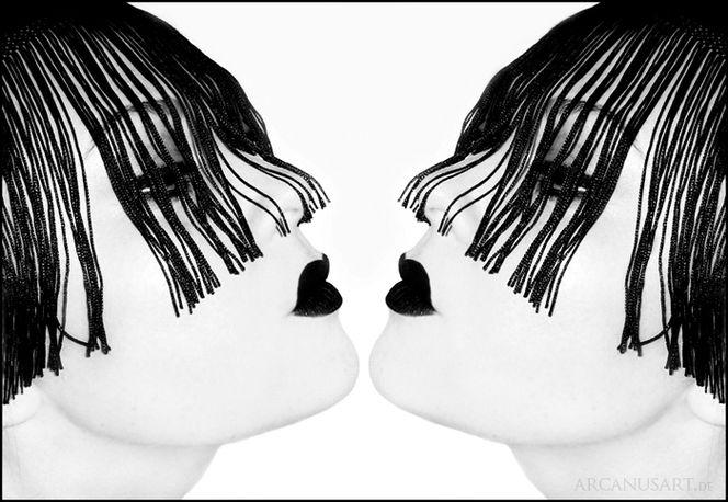 Spiegelung, Lippen, Schwarzweiß, Selbstverliebt, Gothic, Gesicht