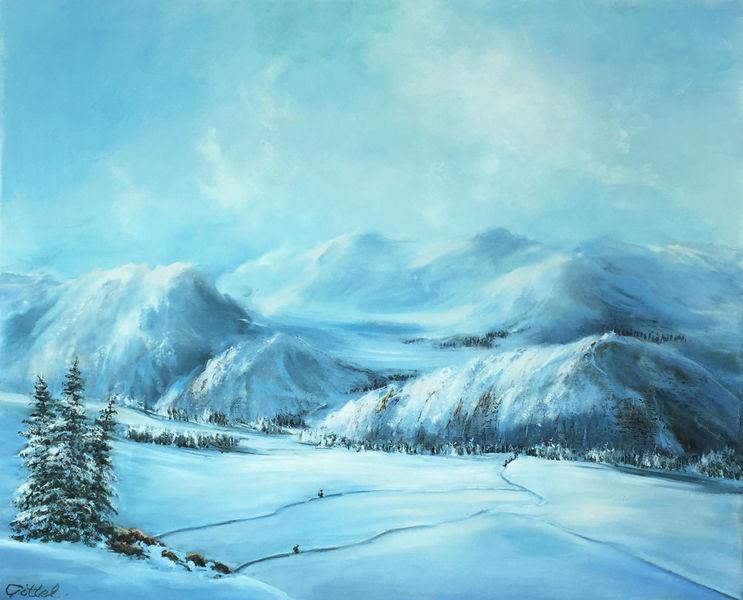 Winter, Berge, Wolken, Himmel, Malerei