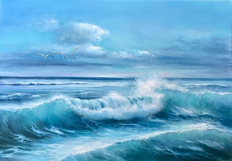 Meerlandschaft, Meer, Himmel, Ölmalerei, Möwe, Urlaub