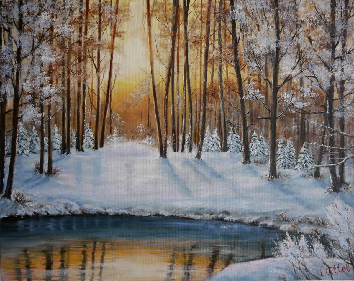 wald im winter sonne winter licht schnee von ludmila gittel on kunstnet. Black Bedroom Furniture Sets. Home Design Ideas