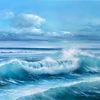 Meerlandschaft, Meer, Himmel, Ölmalerei