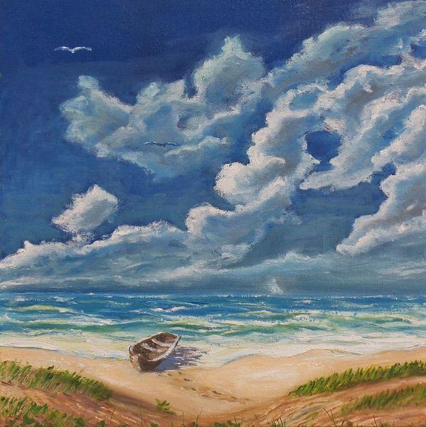 Strand, Wasser, Segel, Meer, Malerei