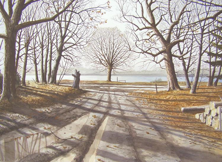 Realismus, See, Landschaft, Natur, Aquarellmalerei, Winter