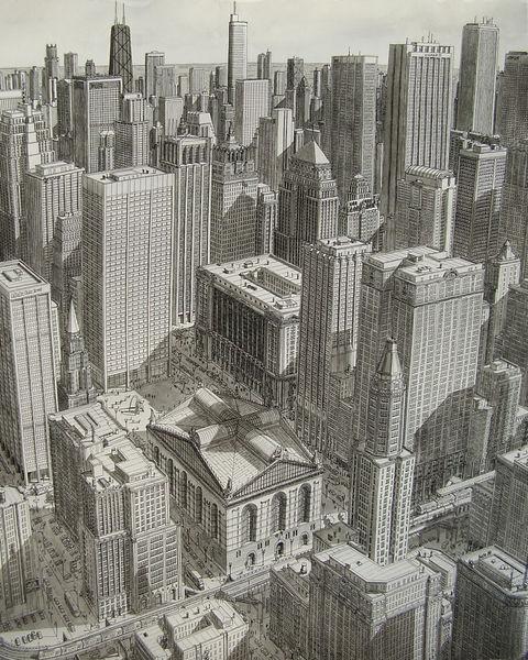 Usa, Landschaft, Zeichnung, Tusche, Chicago, Verkehr