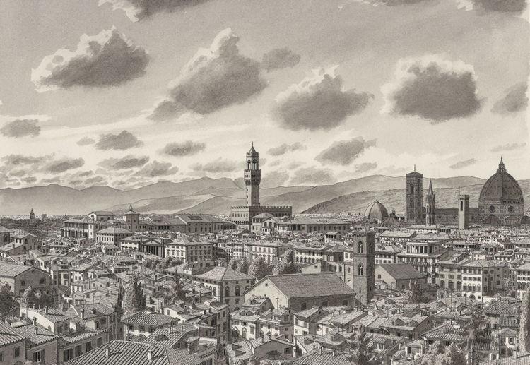 Figurativ, Italien, Berge, Stadt, Stadtlandschaft landschaft, Firenze