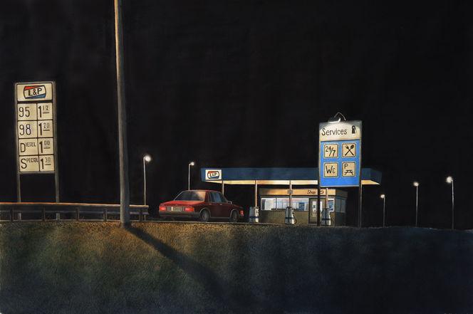 Nacht, Realismus, Autobahn, Licht, Verkehr, Wasserfarbe