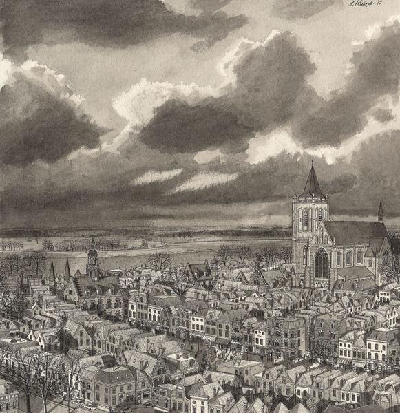 Zeichnung, Stadt, Winter, Niederlande, Wolken, Aquarellmalerei
